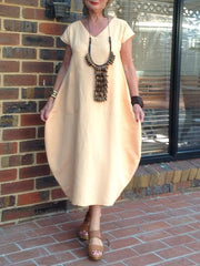Apricot Cotton-Blend Casual Dresses
