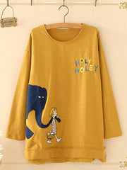 Letter Cartoon Print Long Sleeve O-neck Casual T-shirts