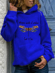 Whisper Words Of Wisdom Let It Be Letter Dragonfly Print Casual Hoodie