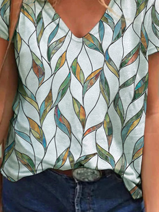 Leaves Short Sleeve  Printed  Cotton-blend V neck  Vintage  Summer White T-Shirt