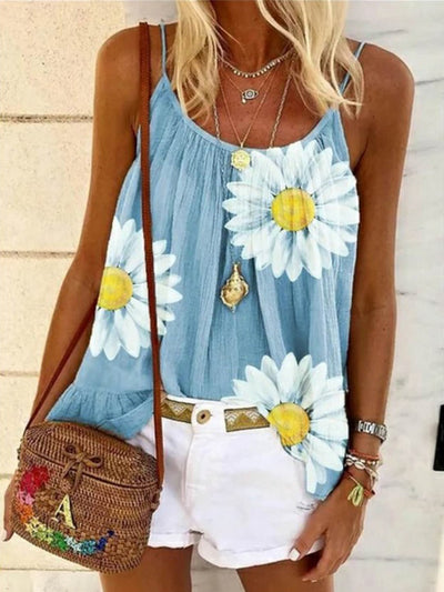 Casual Floral Sleeveless Tops