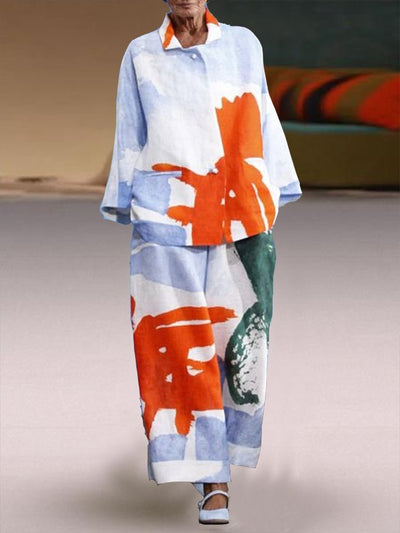 Printed Long Sleeve Abstract Two Piece Suits