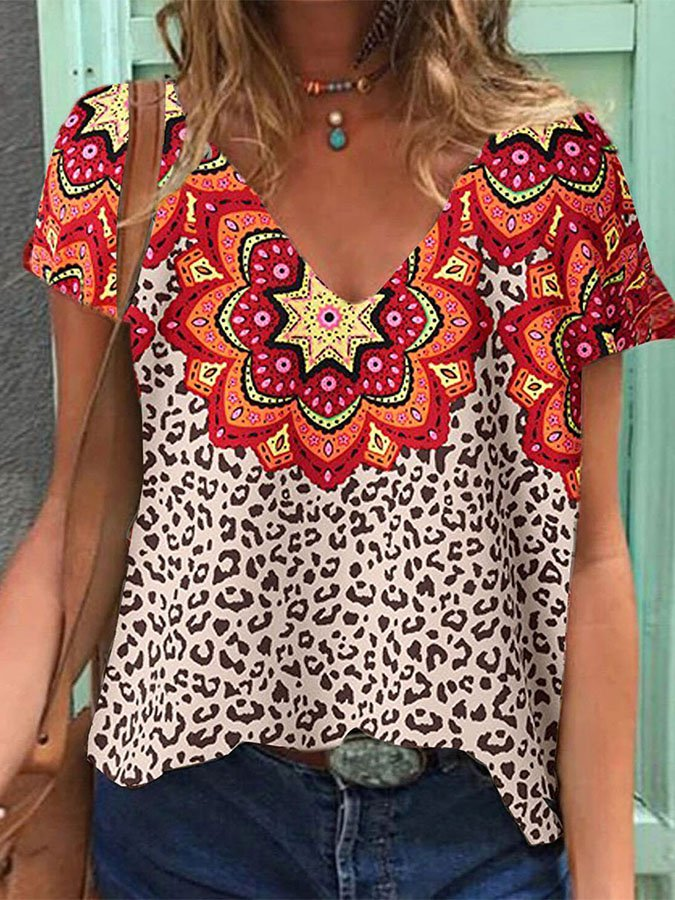 Casual V Neck Leopard Print Short Sleeve Tops