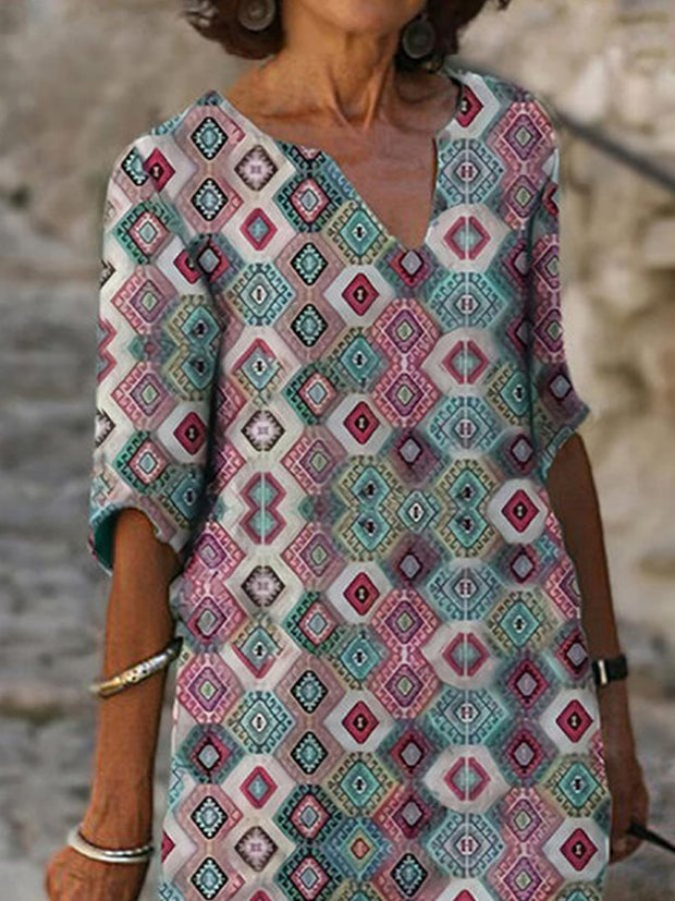 Casual Colorblock Printed Tribal V Neck Dresses