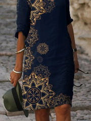 Dark Blue Half Sleeve Casual Printed Dresses