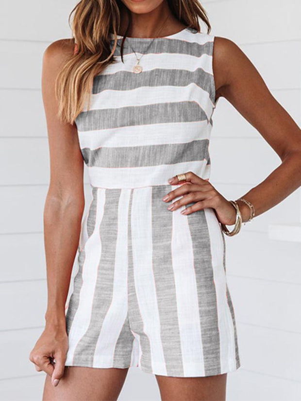 Sleeveless Casual Striped One-Pieces