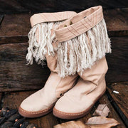 Women Tassels Comfy Slip On Daily Mid Boots