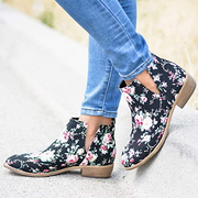 Women Flower Low Heel Slip On Date Ankle Boots