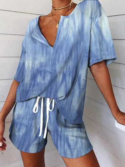 Blue Ombre/tie-Dye Short Sleeve Suits