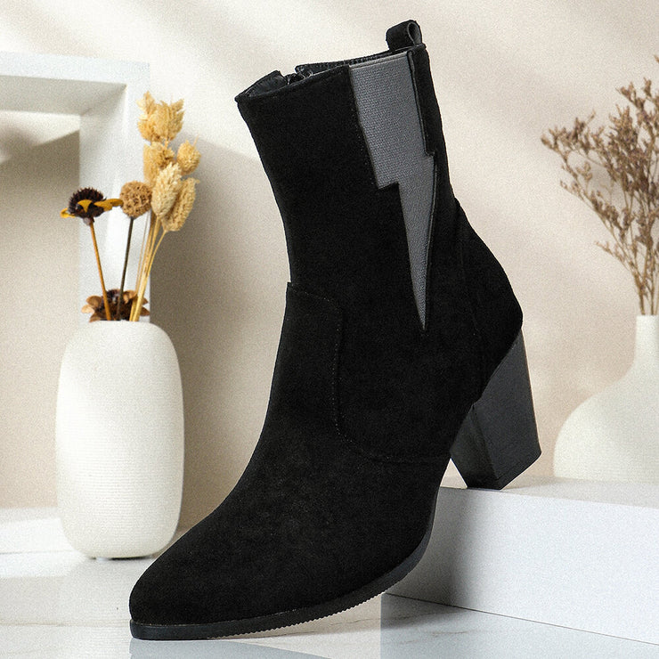 Plus Size Women Casual Solid Color Zipper Chunky Heel Chelsea Boots