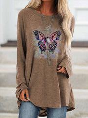Long Sleeve Butterfly Crew Neck Printed Shirts & Tops