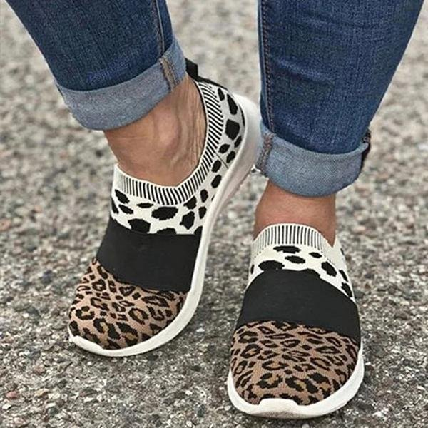 Women Leopard Flat Heel Daily Flyknit Fabric Sneakers