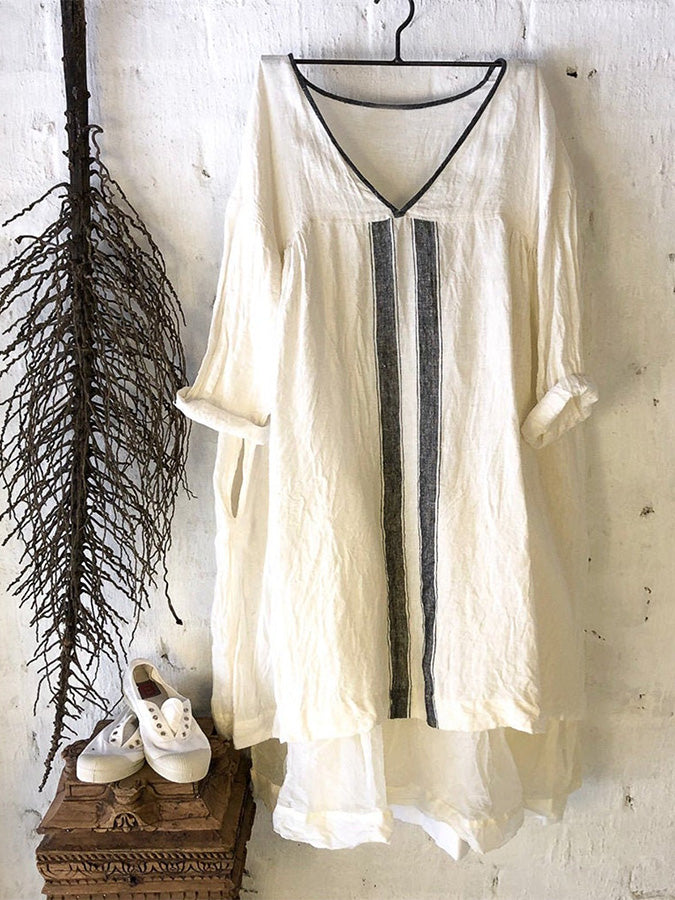 White Striped Linen 3/4 Sleeve Shift Dresses