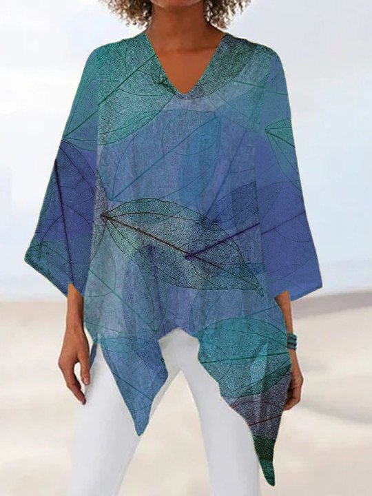 Casual Colorblock Printed V Neck Long Sleeve Tops