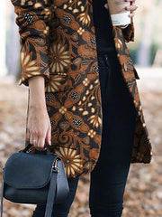 Brown Long Sleeve Pockets Casual Shift Outerwear