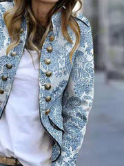 White Casual Long Sleeve Outerwear
