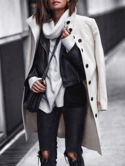 Solid Stand Collar Casual Long Sleeve Outerwear