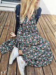 Flower V Neck Casual Dresses