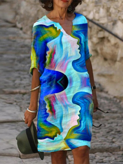 Casual Printed V Neck Abstract Dresses