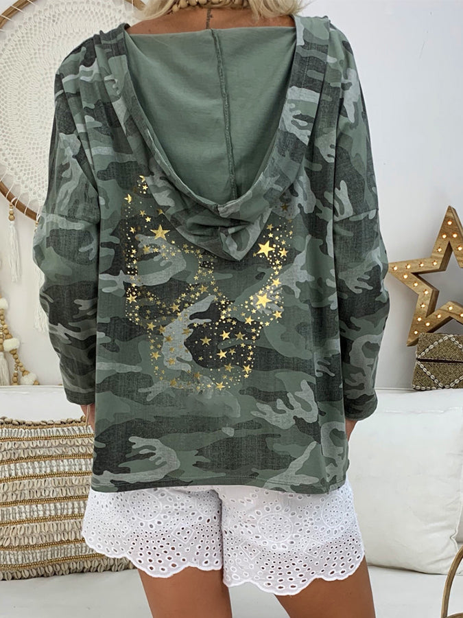 Army Green Hoodie Long Sleeve Shirts & Tops