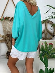 Solid Casual 3/4 Sleeve Shirts & Tops
