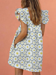 As Picture Floral-Print Pockets Frill Sleeve Holiday Dresses