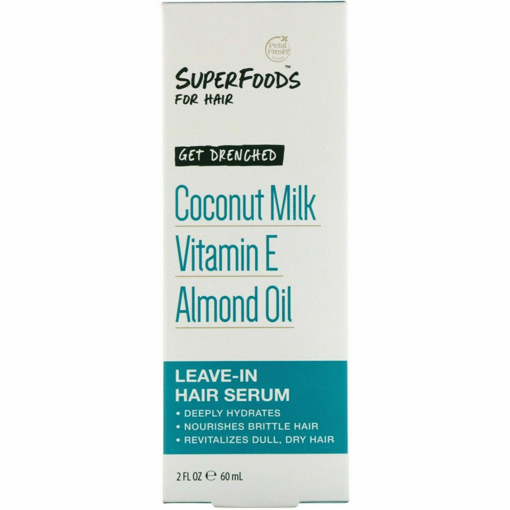 Petal Fresh - Pure, SuperFoods for Hair, Get Drenched Leave-In Hair Serum, Coconut Milk, Vitamin E & Almond Oil, 2 fl oz (60 ml)