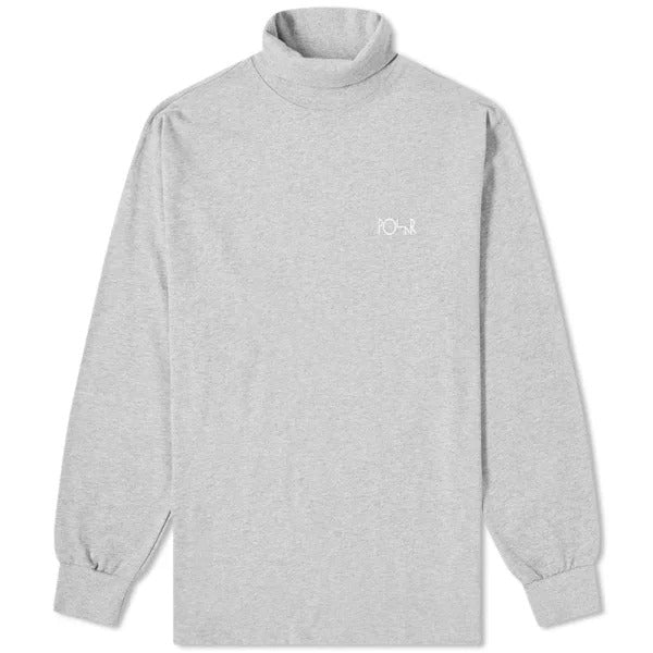Script Turtleneck LS Tee Heather Grey