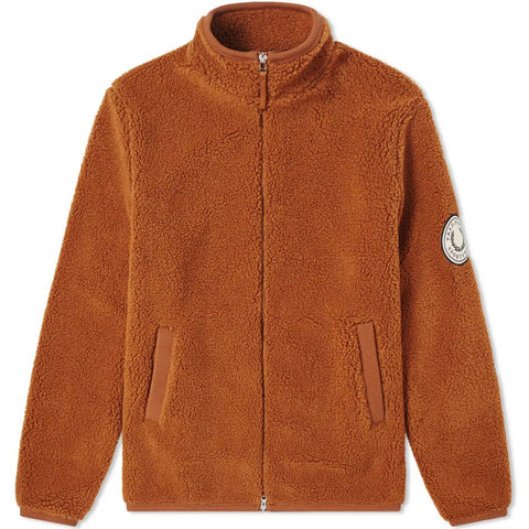 Borg Zip-Through Fleece Jacket Cognac