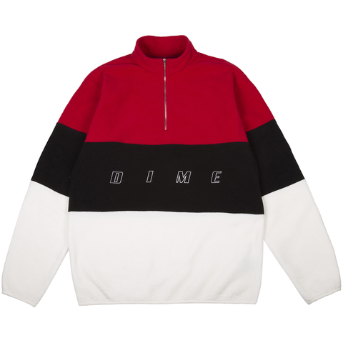 3 Tone Fleece Pullover Red