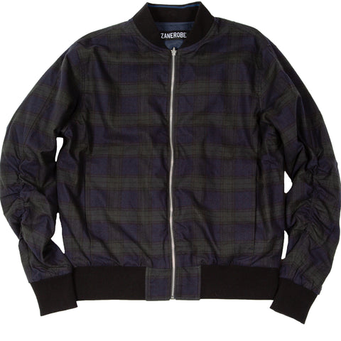 Plaid Reversible Bomber Ink Forest