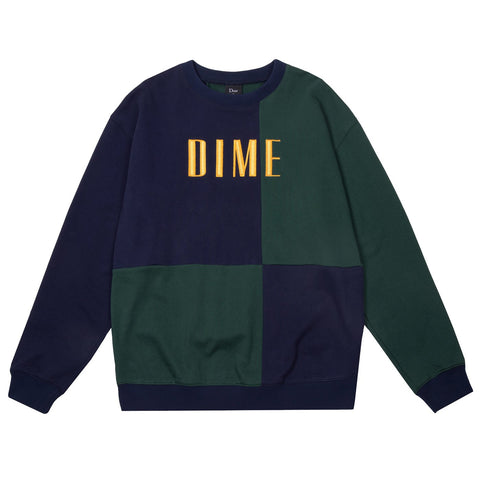 Block Terry Crewneck Navy Green