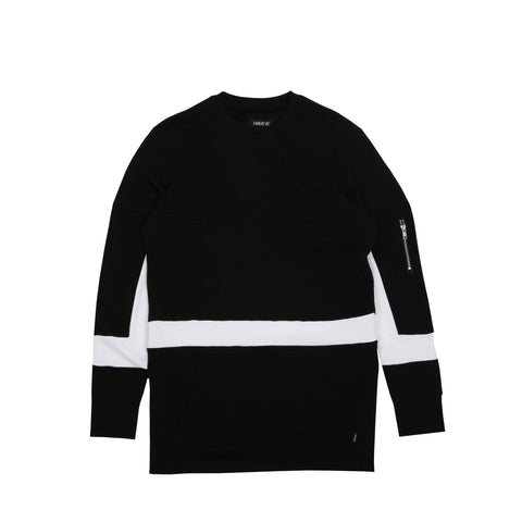 Broken Crewneck Jet Black White