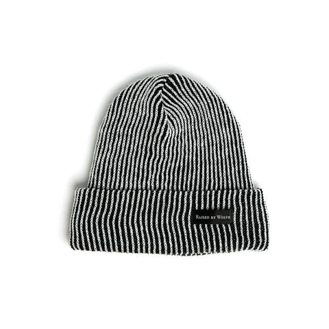 Vertical Stripe Watchcap Black White