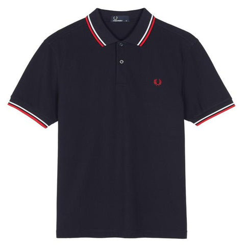 Twin Tipped Fred Perry Shirt White Bright Red Navy