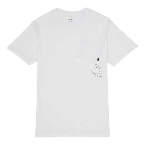 Pocket T-Shirt Hang In There White