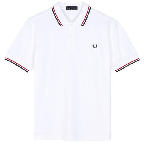 Twin Tipped Fred Perry Shirt Navy White