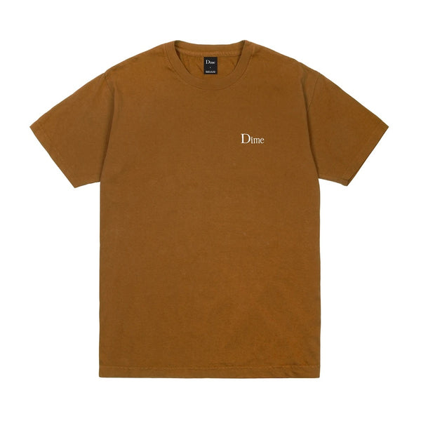 Dime Classic Logo Embroidered T-Shirt Coffee