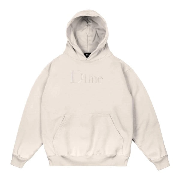 Dime Classic Logo Embroidered Hoodie Cream
