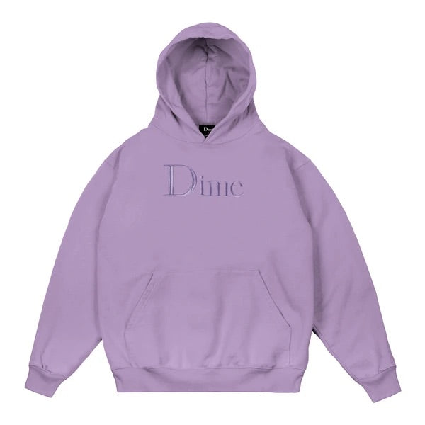 Dime Classic Logo Embroidered Hoodie Lilac