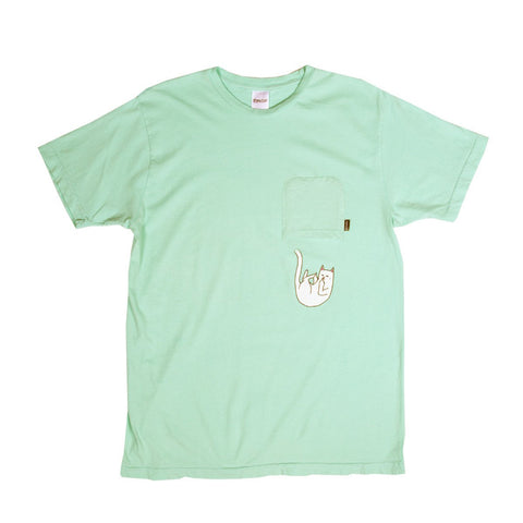 Hang In There Pocket T-Shirt Pastel Green