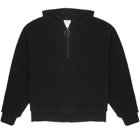 Mon Hooded Zip Fleece Black