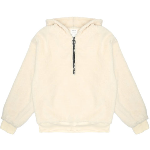 Mon Hooded Zip Fleece Cream