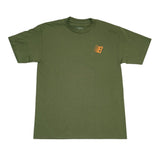 B Tee Shirt Military Green Orange White
