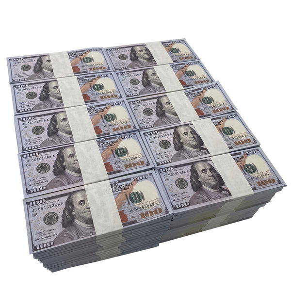 (1,000,000) 100 Stacks $100 Full Print Stack Bundles