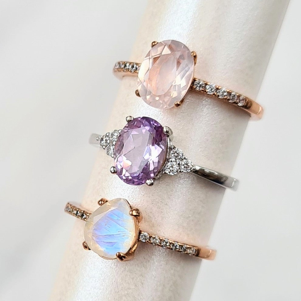 Sterling Silver Rainbow Moonstone Ring - Anniversary, Birthday, Gift for Her, Engagement, Promise, Gemstone Ring, for mum, girlfriend