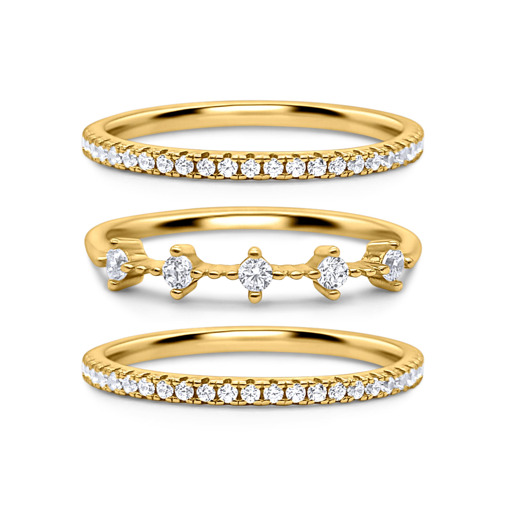 18K Gold Plated Celeste Stacking Ring Set