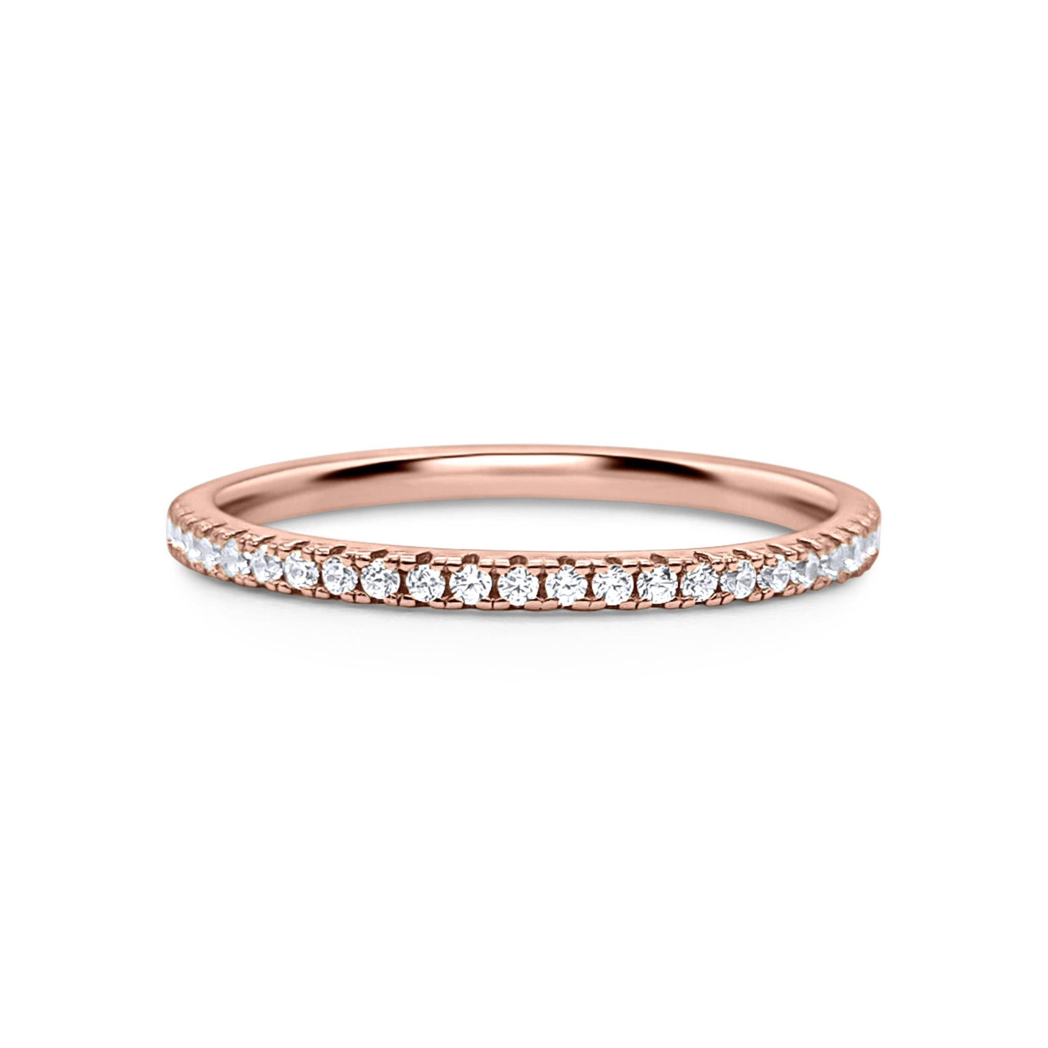 18k Rose Gold Plated Full Eternity Ring - Thin Band