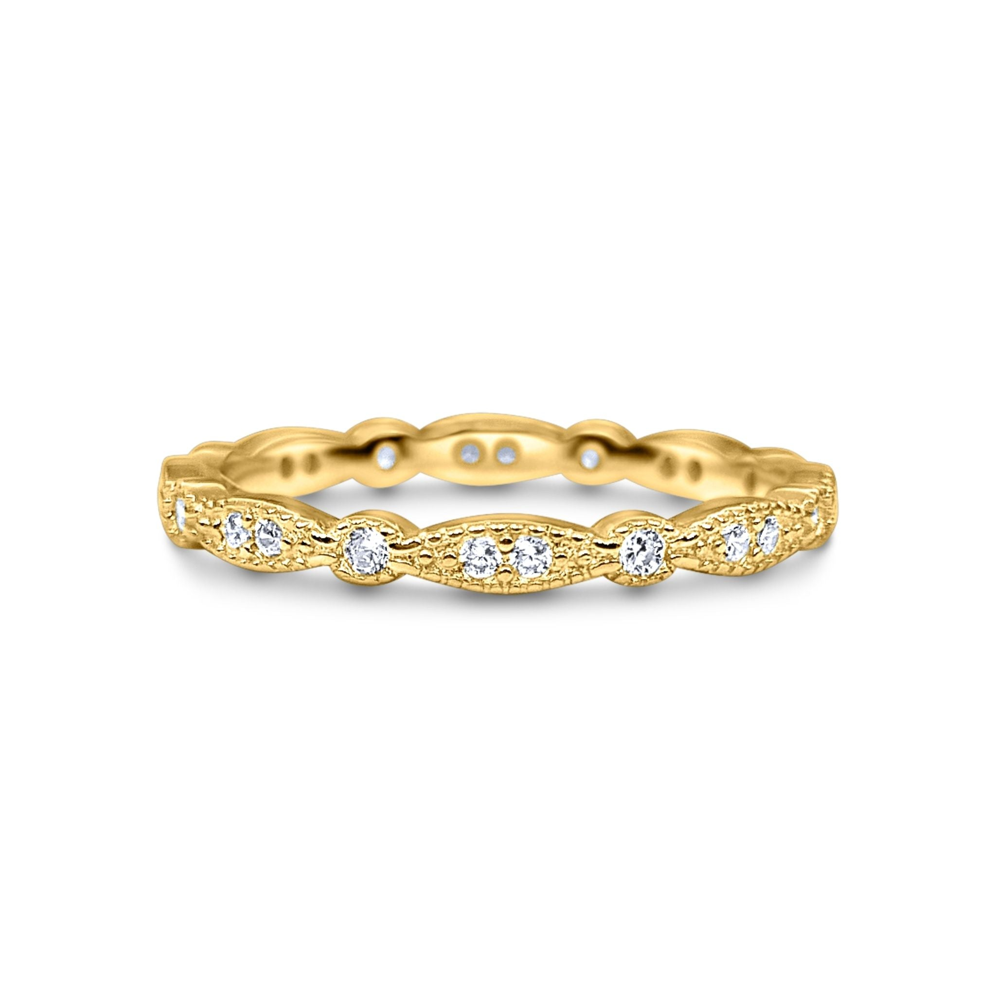18k Gold Plated Vintage Style Full Eternity Ring