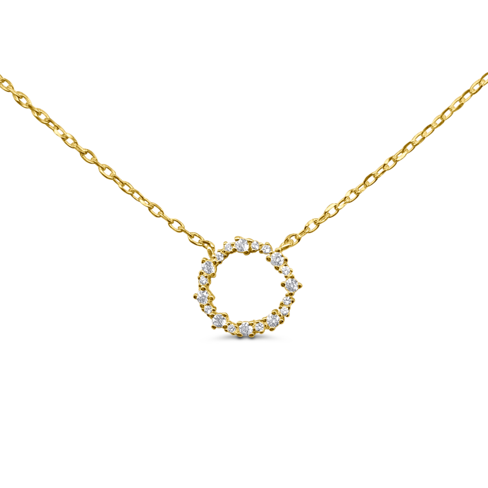 18k Gold Plated Circle Eternity Necklace